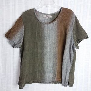 Flax Linen Striped Crew Neck Top Large SS